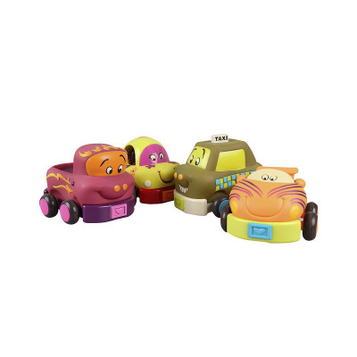 Игровой набор – ЗАБАВНЫЙ АВТОПАРК (4 резиновые машинки-погремушки)