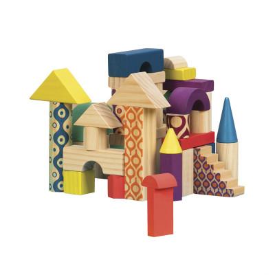 Деревянные кубики - ЕЛОВЫЙ ДОМИК (40 деталей, в сумочке)