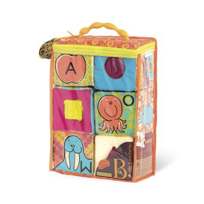 Развивающие мягкие кубики-сортеры ABC (6 кубиков, в сумочке, мягкие цвета)