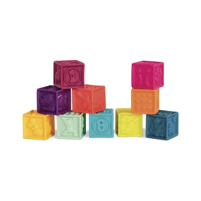 Развивающие силиконовые кубики - ПОСЧИТАЙ-КА! (10 кубиков,  в сумочке, мягкие цвета)