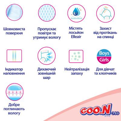 Подгузники GOO.N Plus для детей 6-11 кг (размер M, на липучках, унисекс, 64 шт)