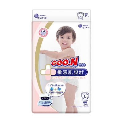 Подгузники GOO.N Plus для детей 9-14 кг (размер L, на липучках, унисекс, 54 шт)