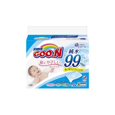 Влажные салфетки GOO.N для чувствительной кожи (3 мягких сменных блока по 70 шт)