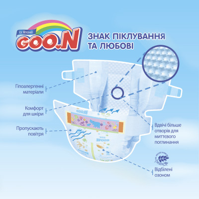 Подгузники GOO.N SUPER PREMIUM MARSHMALLOW для детей 4-8 кг (размер S, на липучках, унисекс, 58 шт)
