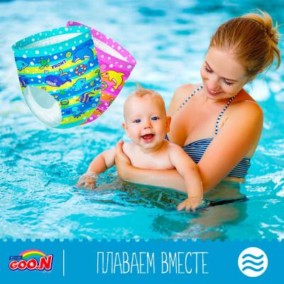 Трусики-подгузники для плавания GOO.N для мальчиков 12-20 кг, ростом 80-100 см(размер Big (XL),3 шт)