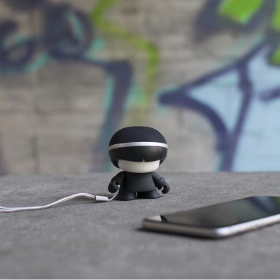Акуст. система XOOPAR - Mini XBOY(7,5 cm, чёрная, c Bluetooth, зарядн.USB-каб, LED-подсв., ремешк.)