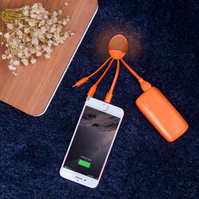 Внешн. порт.аккум. батарея XOOPAR - WEEKENDER(Li-Pol,5000мА*ч,оранж,с каб.Type-C,Lighting,microUSB,USB)