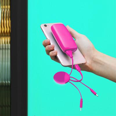 Внешн.порт.аккум.батареяXOOPAR - WEEKENDER (Li-Pol,5000мА*ч,роз,с каб.Тype-C,Lighting,microUSB,USB)